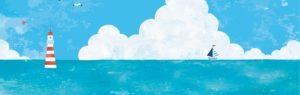 海と雲・灯台とヨット